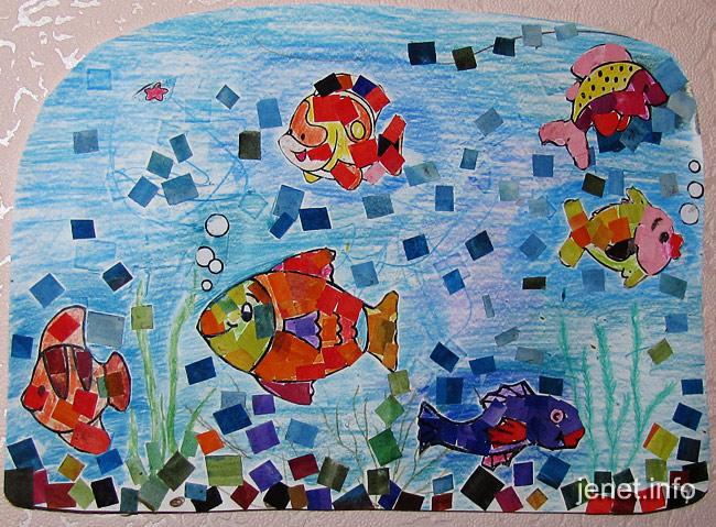 Мозаика рыбки детский рисунок